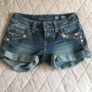 Miss Me Bling Rhinestone Cuffed Jean Shorts Sz 26